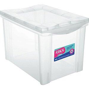 Caixa Plástica Multiuso Medio Alto Cristal 30l Organiz Ordene