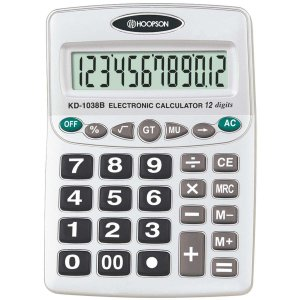Calculadora De Mesa 12digitos A Pilha Hoopson