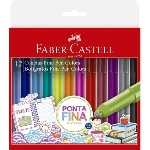 Caneta Com Ponta Porosa Fine Pen Color 12 Cores 0.4mm Faber-Castell