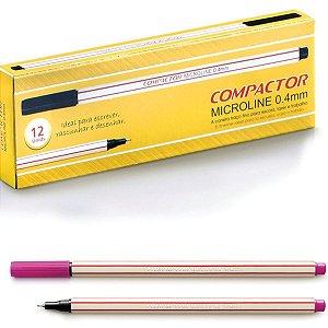 Caneta Com Ponta Porosa Microline 0,4mm Rosa Compactor