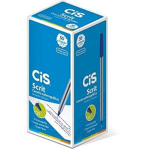 Caneta Esferográfica Cis Scrit 0,7mm Azul Sertic