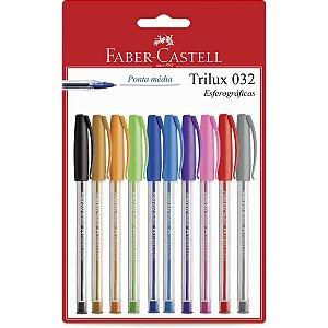 Caneta Esferográfica Trilux Colors 1.0mm 10 Cores Faber-Castell