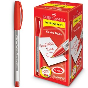 Caneta Esferográfica Trilux Ponta Media Vermelha Faber-Castell