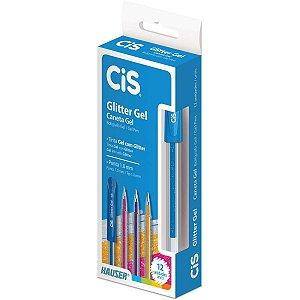 Caneta Gel Cis Glitter Gel Azul 1,0mm Sertic