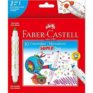 Caneta Hidrográfica Super Duo 10 Cores 2 Pontas Faber-Castell