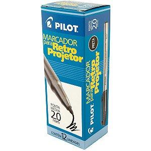 Caneta Retroprojetor 2.0mm Marcador Preta Pilot