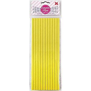 Canudo Biodegradável Amarelo 6x200mm Bl.C/12un Make+