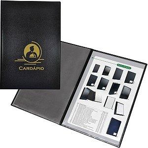 Cardápio Luxo Couro Nobr.185x275mm C/4f Acp