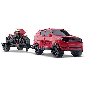 Carrinho Jeep Draco C/ Moto Cores Sort. Orange Toys