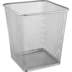 Cesto Para Lixo Metal Quadrado 16,5l Prata Ordene