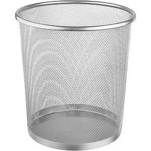 Cesto Para Lixo Metal Redonda 12,5l Prata Ordene