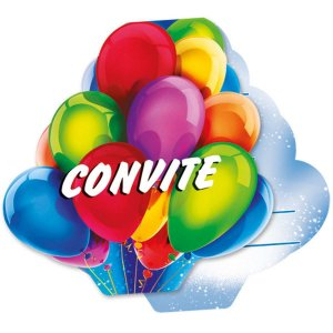 Convite De Aniversario Foto Baloes R.60 C/8un Regina Festas