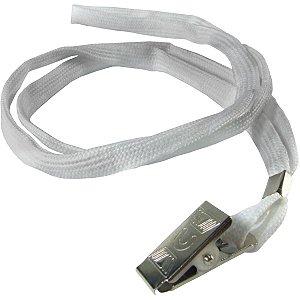 Cordão Para Crachá Tecido Branco C/Presilha Jacar Kit