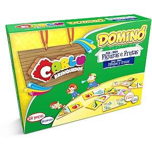 Domino Figuras/Frutas Em Madeira 28pc Carlu