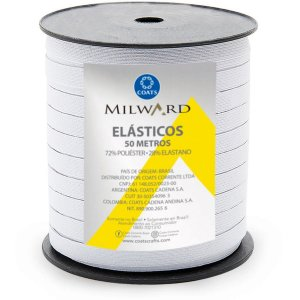 Elástico Costura Poliéster Milward Chato 7,5mmx50m Coats Corrente