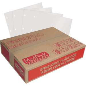 Envelope Plástico Oficio 4furos Fino C/100un Romitec