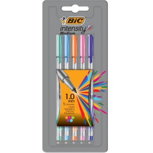 CANETA COM PONTA POROSA INTENSITY 1.0MM COLORS 5CORES BIC