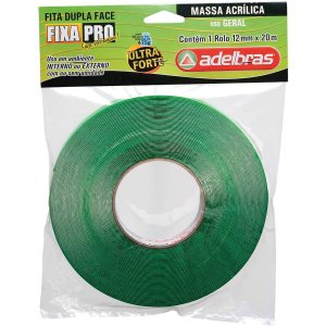 Fita Dupla Face Massa  Acrilica Verde 12Mmx20M Adelbras