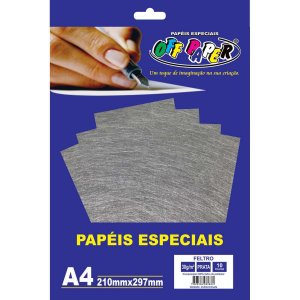 Folha Feltro A4 Prata 30G/m 10Fls. Off Paper