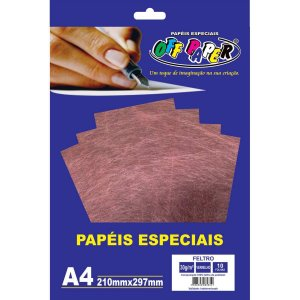 Folha Feltro A4 Vermelho 30G/m 10Fls. Off Paper