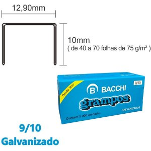 Grampo Para Grampeador 9/10 Galvanizado 5000 Grampos Bacchi