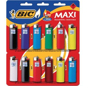 Isqueiro Descartavel Bic Maxi A Gas Cartela C/12Und Bic