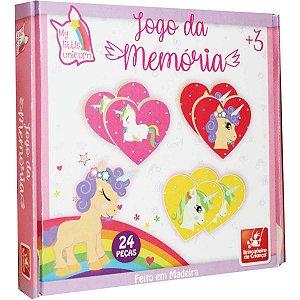 Jogo Da Memoria Unicornios Em Madeira Brinc. De Crianca