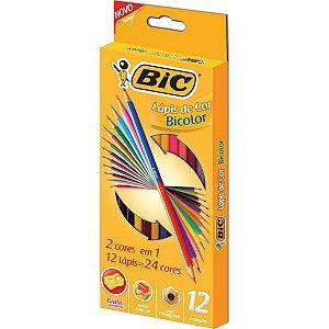 Lapis De Cor Sextavado Bic Bicolor 12 Lapis 24 Cores Bic