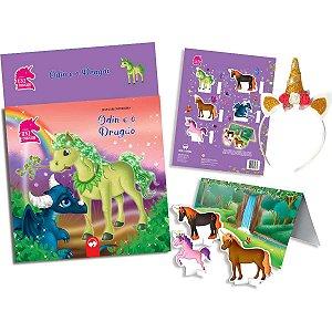 Livro Brinquedo Ilustrado Unicornios E O Dragao C/tiara Vale Das Letras