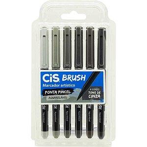 Marcador Artistico Cis Brush 6 Tons Cinza Sertic