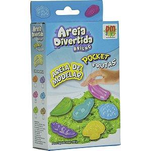 Massa Areia Divertida Brilho Pocket Frutas Dm Toys