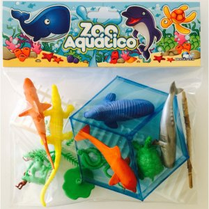 Miniatura Colecionavel Zoo Aquatico C/12 Pecas Brasilflex