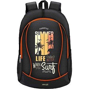 Mochila Escolar Surf Life Gd 3Bolsos Preta Yangzi