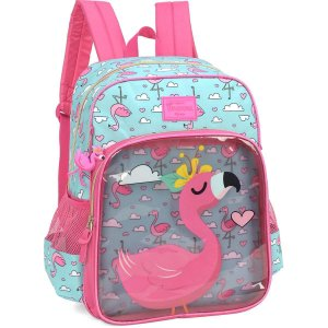 Mochila Escolar Up4You Petit Flamingo Gd 3Bols Luxcel