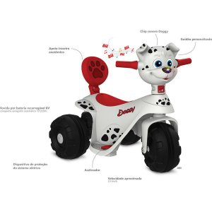 Moto Eletrica Scooter Doggy 6V Brinq. Bandeirante