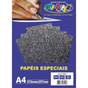 Papel A4 Glitter Preto 180G. Off Paper