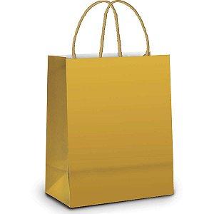 Sacola Para Presente Lisa Ouro Fosco 21,5X15X8Cm. Cromus
