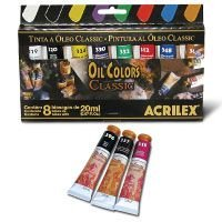 Tinta A Oleo Para Telas Oil Classic 20Ml.8 Cores Sort Acrilex
