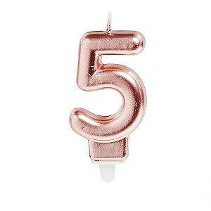 Vela Para Aniversario N.05 Perolizada Rose Cromus