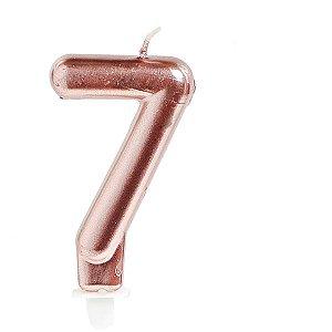 Vela Para Aniversario N.07 Perolizada Rose Cromus