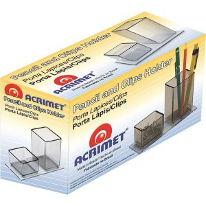 Acessório Para Mesa Lápis/clips Acrílico Fume Acrimet
