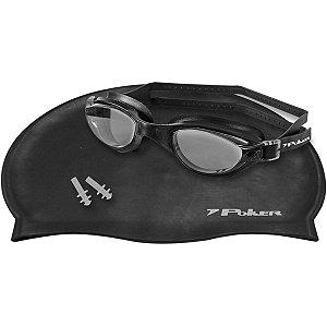Acessório Para Piscina Oculos+Touca+Protetor Pt/fu/pt Poker