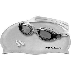 Acessório Para Piscina Oculos+Touca+Protetor Tr/fu/pr Poker