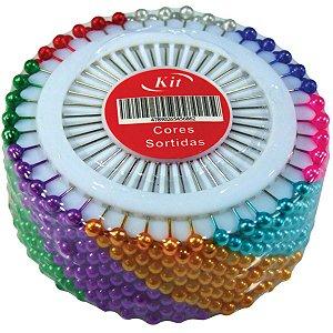 Alfinete Costura Kit Cabeça Colorida Disco Kit