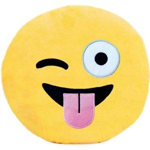 Almofada Pelúcia Emoticon Piscadinha 30Cm. Soft Toys