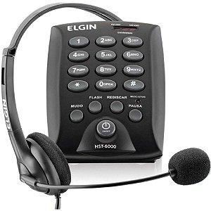 Aparelho Telefônico Com Fio Headset Hst-6000 C/flash Preto Elgin