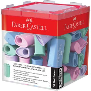 Apontador Com Depósito Triangular 4Cores Pastel Faber-Castell
