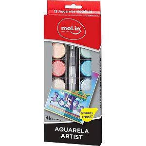 Aquarela Escolar Artist 12 Cores Metálicas Molin