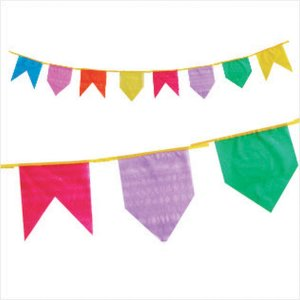 Artigo Para Decoração Bandeirinha Plástica 10M Real Seda