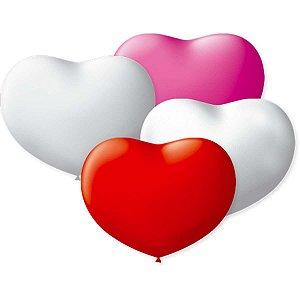 Balão Coração 11Pol. Branco/verm/rosa São Roque